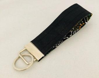 Keyring, Key Fob, Key Ring, Key Chain, Black Cork Key Fob, Silver Key Fob, Cork Key Chain, Cork Key Ring, Silver Key Chain