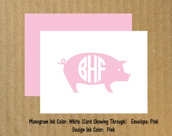 Pig Cards, Set of 10, Monogram Pig Note Cards, Monogram Note Cards, Pig, Thank You Cards, Pig Note Cards, 4-H Thank You Cards, Farm Birthday