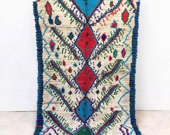 "Moroccan Boucherouite rug ""N76"", Vintage Berber Rag rug, Morrocan decor, Colorful bohemian rug, Ourika Tribal carpet"