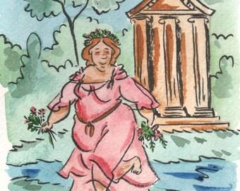 Original watercolor, Spring Dance