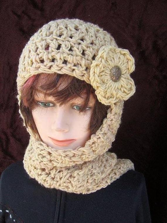 113 CROCHET PATTERN Hat scarf...hat scarf combo Hood