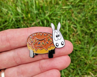 Ewe donut!, Cute enamel pin, sheep badge, Cute pin, lapel pin, hat pin, funny pin, doughnut badge, donut pin badge, sheep pin, sheep gifts