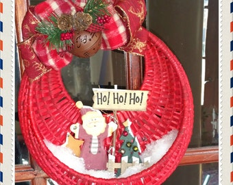 OOAK Christmas Wreath Upcycled Christmas Basket Wreath Rustic Charm Wreath Rustic Jingle Bell Added snow  Farmhouse Style  Handmade