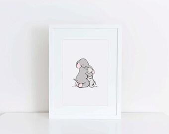 Nursery Art - Hugging elephants - baby decor - childrens art print - mummy and baby elephant illustration - kids wall art - baby gift