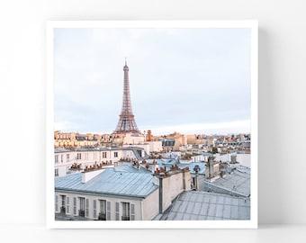 Paris Photography - Eiffel Tower at Dawn, 5x5 Paris Fine Art Photograph, French Home Decor, Wall Art, Paris Gallery Wall