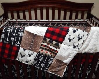 Woodland Boy Crib Bedding - Aztec Bear, Black Arrows, Lodge Red Black Buffalo Check, Deer Skin Minky, and Black Crib Bedding Ensemble