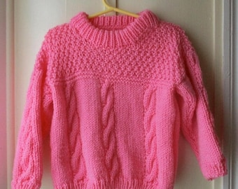 ON SALE 1980's  bright pink handknit sweater / cableknit pullover sweater / girl's knit jumper / toddler size 12 to 18 months