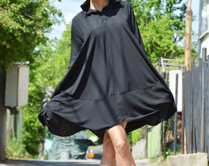 Women Chiffon Black Shirt, Black Extravagant Dress, Plus Size Shirt, Asymmetric Tunic, Oversize Shirt, Summer Long Shirt by SSDfashion