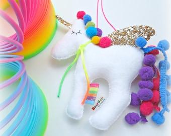 Rainbow Unicorn Hanging decoration ornament - pompom unicorn