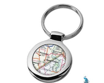Map Keychain Chevy Chase Maryland DC Line Key Ring Fob
