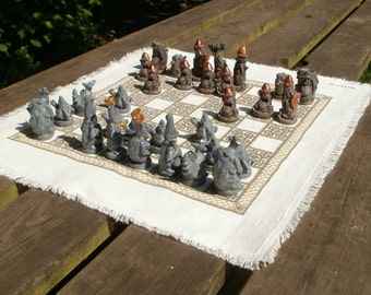 Portable Fabric Chess Board.
