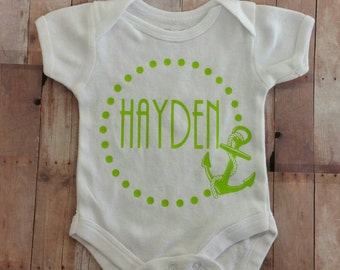 Personalized Baby Onesie Monogrammed or Name Anchor Design