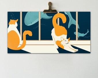 Aquarium Cats Horizontal Print