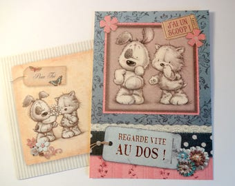 """Stuffed animals card - """"I have a scoop! Look to the back. """"+ envelope"""