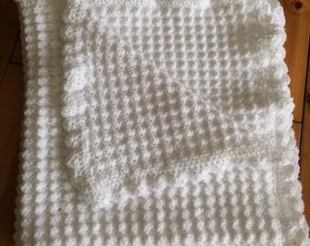 Hand made crochet baby blanket - white crochet baby blanket - hand made white wool crochet baby blanket
