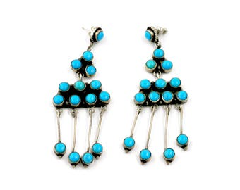 "Vintage Zuni ""Snake Eye"" Turquoise Earrings"