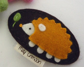 Felt hair clip -No slip -Wool felt -Harley the hedgehog -brown