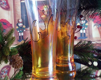 "Set of 2 Hand Painted Pilsner beer glasses ""On fire"""