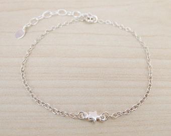 Tiny Silver Star Bracelet - Sterling Silver