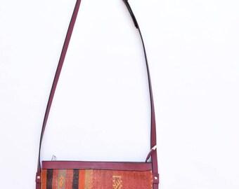 Bohemian Bag-038  Vintage Kilim Rug Carpet Leather CrossBody Bag Bohemian Boho Bag Hippie Ethnic Tribal Aztec Authentic bag Southwestern bag