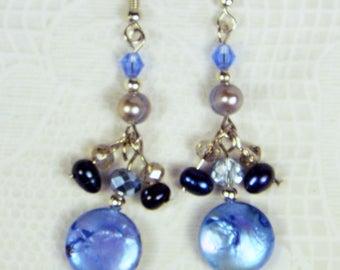 """Cynthia Lynn """"RIVER GEMS"""" Blue Freshwater Pearl Crystal Silver Earrings"""