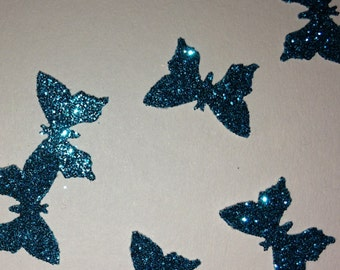 Turquoise Glitter Small Butterfly Wedding Confetti made from Paper - Glittery Sparkly Sparkles & Butterflies