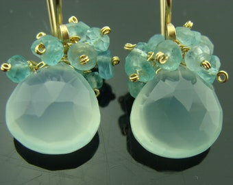 Aqua Blue Chalcedony and Apatite Cluster 14K Gold Filled or Sterling Silver Earrings