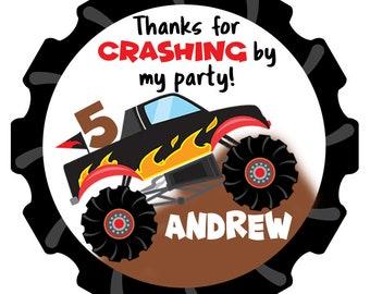 Monster Truck Birthday Stickers-Monster Truck Birthday Tags-Set of 12