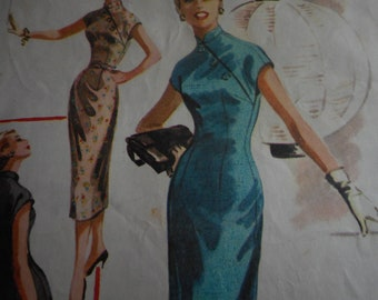 Vintage 1950's McCalls 3527 Dress Sewing Pattern, Size 16 Bust 34