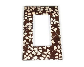 Rocker Switch Plate Light Switch Cover Wall Decor Light Switchplate  in Brown Leaves  (267R)