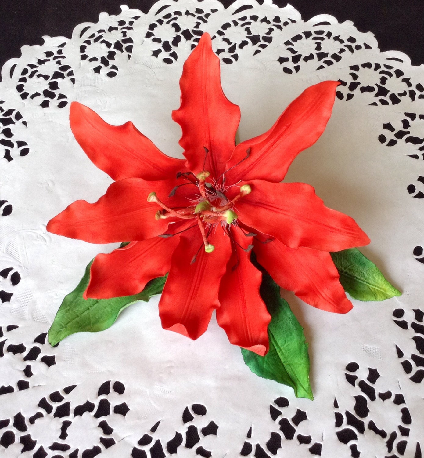 Custom wedding gum paste red passion flower cake topper request a custom order and have something made just for you izmirmasajfo