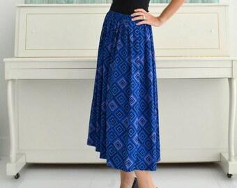 Vintage Silky Blue & Purple Geometric Pleated Voluminous Skirt Leslie Fay