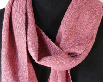 Handwoven Pink and Tan Scarf, Elegant Handmade Bamboo Accessory