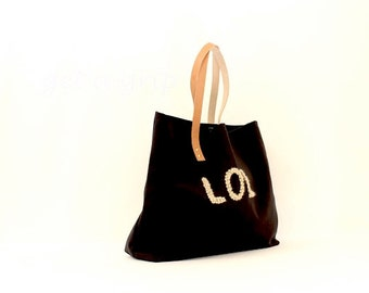 """Canvas Tote...""""LOL"""" BLACK tote bag with PERSONALIZED leather label"""