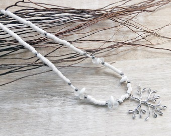 Necklace silver branch and white beads 80 cm