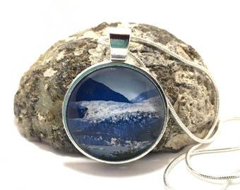 Mendenhall Glacier, Glacier Necklace, Alaska Glacier, Glass Pendant, Blue Ice, Glass Necklace, Silver Pendant, Silver Necklace, Birthday
