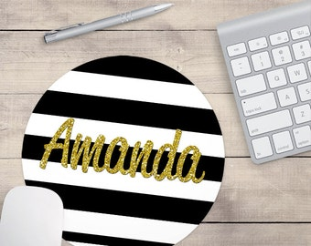 Gold Glitter Mouse Pad, Glitz Mouse Pad, Black and White Stripes Mouse Pad, Personalized Mouse Pad, Name On Mouse Pad (0054)