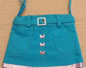 Blue Skirt Purse - Butterflies and Flower