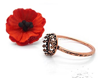 1pcs Oxidized Copper Plated Brass Wire Crown Bezel Ring Setting for 8x6mm Flat Back Cabochon, US Size 8, 2905ACO, Antique Copper Color