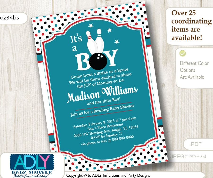 Bowling Baby Shower Invitation It is a Boy Strike baby