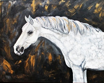 Dapple Grey and Glossy Gold Horse Original Acrylic Painting