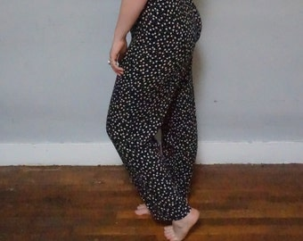 plus size 90s naf floral grunge revival 1990s long straight harem style 1990s norm core daisies club kid hipster kitsch pants XL XXL bottoms