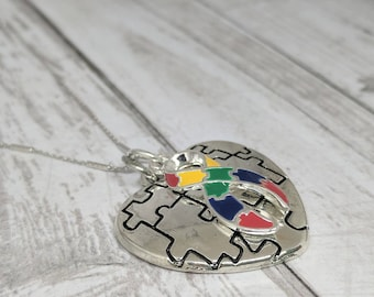 Autism Awareness jewelry - puzzle heart -  autism awareness ribbon -  puzzle ribbon -rainbow puzzle ribbon