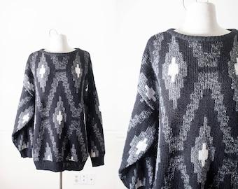 Oversized Sweater, Boyfriend Sweater, Black Sweater, Geometric Print, Geometric Design 80s Sweater, Novelty Pullover Sweater Slouchy Sweater