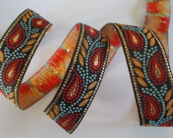 "Metallic Woven Jacquard Ribbon Trim Tape~Black~Sage~red~curry and metallic gold~3/4"" wide"