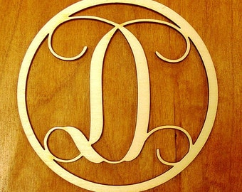 """Letter Monogram Ornament 4"""" Wood"""