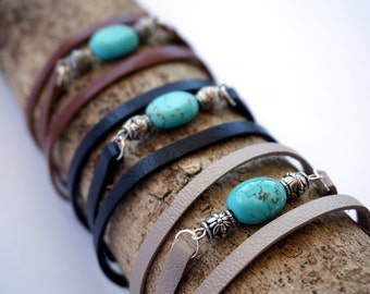 Turquoise Triple Wrap Leather Bracelet for Women - Black, Brown, Beige Woman Leather Bracelet - Boho Wrap Bracelet - Turquoise Bracelet