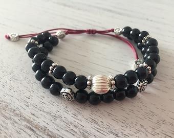 Beaded Bracelet, Natural Stones Bracelet, Semi-Precious Stone Bracelet, ONYX Bracelet, Meditation Bracelet, Bohemian Bracelet