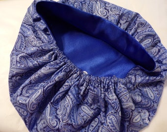 Bouffant Satin Lined Scrub Hat Blue Shimmer Cotton with Satin Lining/ Scrub Cap/Women Scrub/Cotton Outside Satin Inside