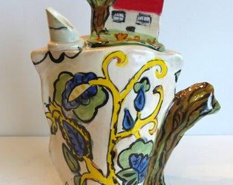 ceramic teapot handmade green blue red funky teapot folk art teapot contemporary tea pot serving tea